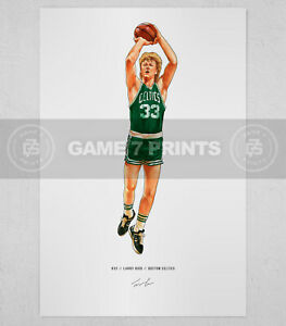 Larry Bird Boston Celtics Basketball Illustrated Print Poster Art