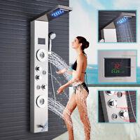 ELLO&ALLO Stainless Steel Shower Panel Tower System LED Rain Waterfall Massage