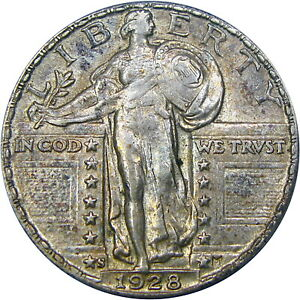 1928-S 25C OLD ANACS AU58 STANDING LIBERTY ~ SCARCE DATE & QUALITY SLIDER!