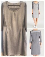 Sandwich Cotton Linen Mix Jersey Dress Stone Grey Lagenlook Minimalist Scandi M