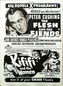 The Flesh And The Fiends Peter Cushing / Riffi And The Women Film Advert 1960