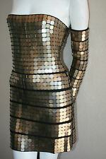 authentic Herve Leger black bronze paillette dress NEW L strapless with glove