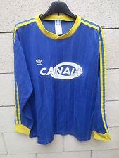 Maillot ADIDAS vintage porté n°10 CANAL + années 90 shirt trikot bleu jaune L