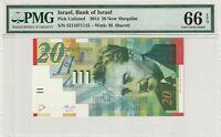 Israel PMG Certified Banknote UNC 66 EPQ Gem 2014 20 New Sheqalim