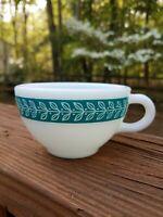 Vintage Pyrex Tea Cup Coffee Cup Milk Glass Turquoise Laurel Leaf 701-4 Corning