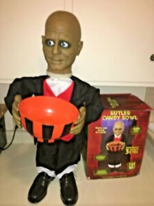 Halloween prop GEMMY JEEVES THE BUTLER MINI STANDING CANDY DISH HOLDER. TALKS.