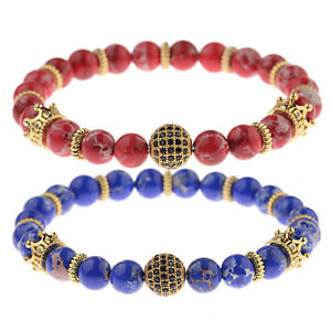 Gold Cubic Zirconia Ball Crown Copper Beads Bracelets Red Aquamarine Stone Beads