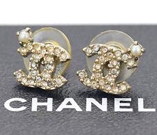CHANEL Mini CC Logos Crystal Stud Earrings Gold & Rhinestone 09A w/BOX #792