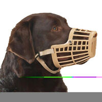 Brand New Plastic Basket Dog Muzzle Cage Tan Color Nylon Strap Adjustable 6 Size
