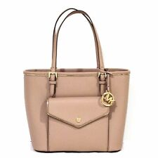 MICHAEL KORS Saffiano Frame TOTE Fawn PURSE Leather NEUTRAL Gold Beige NWT $228