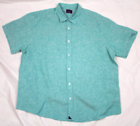 UNTUCKit Mens Short Sleeve Button Front Green Linen Shirt Size 2XL