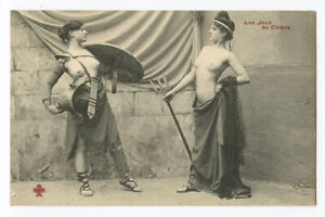c 1910 French Risque Nude ROMAN LADY Gladiators Arena Face Off photo postcard 1