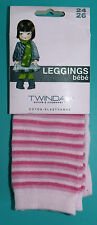 PAIRE DE LEGGINGS BEBE FILLE 24/26 2/3 ans 86/94cm rose rayures TWINDAY NEUF