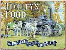 Vintage Retro Tin Sign Steam Engine Tractor THORLEY'S FOOD Metal Wall Plaque New