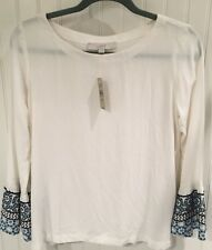 NWT ANN TAYLOR LOFT Off White Pull Over Top Embroidered Sleeve Hem Size: XSP