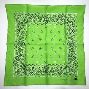 Vtg 100% Cotton Colorfast Green Paisley Bandana Elephant Trunk Up RN13962 UNUSED