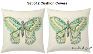 "Set of 2 - IKEA ROTFJARIL Cushion Covers 20x20"" Butterfly Covers Natural Green"