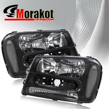 For 02-09 Chevy Trailblazer Pair Crystal Black Headlights Clear Reflector Lamps