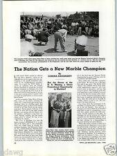 1938 PAPER AD Marble Shooting Champion AAdam Moro Akron Ohio Michigan City