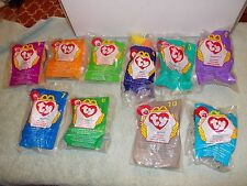 McDONALDS ty Teenie Beanie Babies Happy Meal Toys Partial set 10 of 12 from 1998