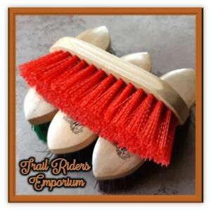 Horse Dandy BRUSH Wood with HARD nylon bristles. RED horse brush new