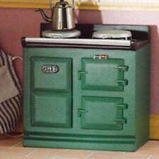 Green Resin Aga Style Stove, Dolls House Kitchen Cooker, Furniture. 1.12th Scale