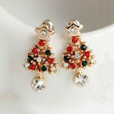 1 Pair Chic Ear Stud Pierced Rhinestone Women Christmas Tree Earrings Dangler