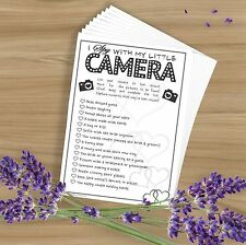 I Spy Camera Selfie Game - 10 Wedding/Marriage Cards - Favours - Black / White
