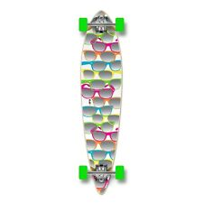 Glasses Shades White Graphic COMPLETE Longboard Pintail Skateboard / 70mm Wheels