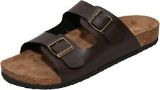 Men's Arizona Brown 2-Strap Platform Sandals, Slid-on Cork Footbed Slippers