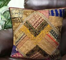 "30"" PLUM EXQUISITE INDIAN SARI BEADS HOME DÉCOR THROW FLOOR CUSHION PILLOW COVER"
