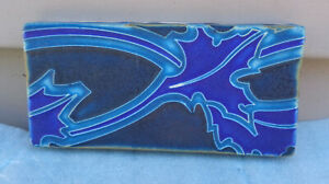 "Motawi Tileworks Ann Arbor MI 2¾"" x 5¾"" Lt & Dark Blue Abstract Design Art Tile!"