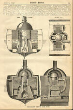 Non Radiating Compound Steam Engine, For 17 Ton Yacht, 1873 Antique Print.
