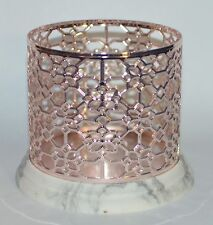 BATH BODY WORKS FLORAL ROSE GOLD MARBLE LARGE 3 WICK CANDLE HOLDER SLEEVE 14.5OZ