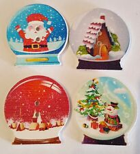 5 SNOW GLOBE 30MM WOODEN BUTTONS FOR CHRISTMAS CRAFTING CARDS SCRAP BOOKING