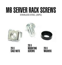 Rosewill M6 Server Rack Cage Nuts & Mounting Screws for Server Shelves, Server