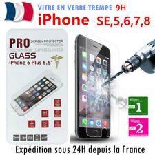 IPHONE 8,7,6,6S,5S X Vitre film protection VERRE TREMPE Tempered Glass écran 9H