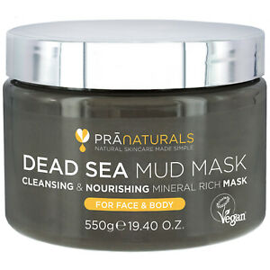 PraNaturals Dead Sea Mud Mask Face & Body Dull Skin Deep Cleansing 550g
