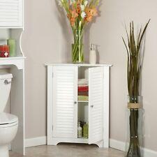 Bathroom Cabinet Storage White Corner 3 Shelf Wooden Shelves Dining Room Display