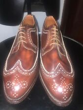 English handmade shoes all leather brown antique rub off new old stock UK 10.