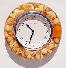 Vintage Sterling & Noble Lucite Round SeaShell Wall Clock Watch Nautical Decor