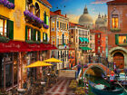 FRAMED CANVAS ART PRINT Romantic Venice canal sunset outdoor cafe gondola Italy