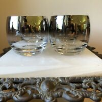 SET OF 4 Vtg Silver Fade Ombre Round Roly Poly Cocktail Glasses; Dorothy Thorpe?