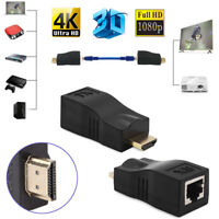 2x 1080P HD 3D HDMI Extender Over Single RJ45 Cat 5e/6 Network Ethernet Adapter