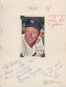 Mickey Mantle Autographed 15 Page College Report