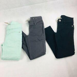 Justice Jeans Girls Mint Grey Black Skinny Jeggings Sz 7 Lot of 2