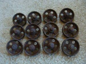 12 Old Cast Iron Barn Door Rollers from Nebraska Farm Rusty