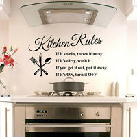 1Pcs Hot Kitchen Rules Quote Words Poem Art Vinyl Wall Stickers Room Decor Mural