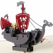 3D Pop Up Card Pirate Ship Children's Day Thank You Christmas Birthday Greeting