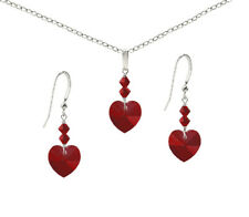 *CKstella*  925 Sterling Silver Earrings & Necklace w Swarovski Siam Red Heart